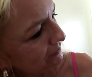 Old blonde mom rides son-in-law cock