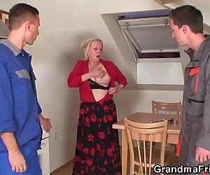 Two repairmen fuck busty grandma