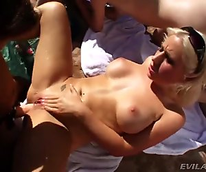 Seven lesbians in summer strapon anal pool party