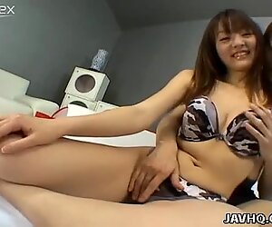 Palatable Asian bitch Maki Ishizaka gets her bearded pussy fondled