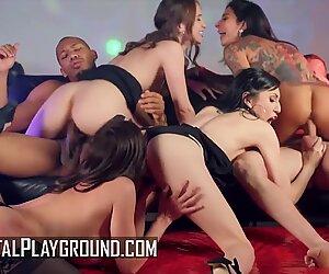 DigitalPlayground - Four sexy chicks sharing big hard dicks in group sex