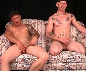 Straight skanky slacker brothers with tattoos and a rough edge, big cocks wank together side by side
