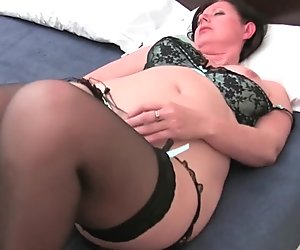 British mom with hairy cunt plays with sex toys