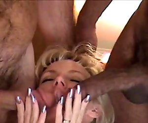 Big Black and White Cocks Fuck Petite Small Tits Wife