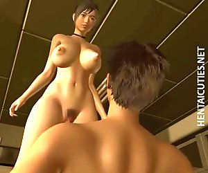 Sexy 3D anime babe fucking a large dick