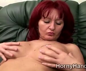 Mature caregiver can not stand her lust and begins to masturbate