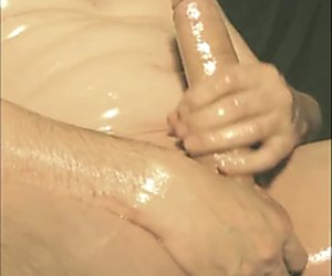 robin jerking his shaved oiled uncut monstercock 184