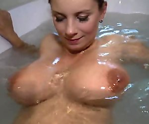 Pregnant Girl In Bath Plays With Her Swollen Mounds