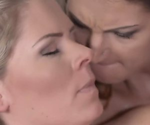 Lesbea Bisexual older woman tries lesbian sex with younger blonde