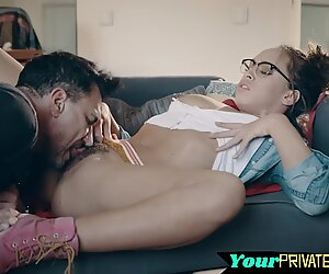 Cute brunette gets her hairy pussy ravaged - Gorgeous Glamour