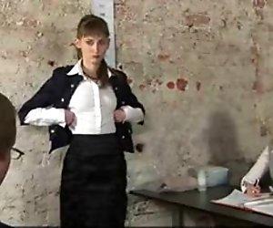 Dirty job interview for skinny secretary