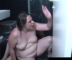 Fat german whore fuck on the bathroom floor