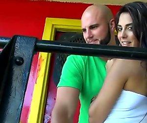 Voracious slut Karina seduces a man for teasing his dick