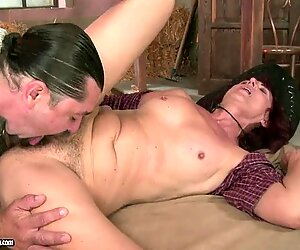 Ria's thick round ass gets bent over as she's penetrated from behind