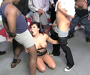 Buxom Asian hottie London Keyes pleases bunch of African freaks with solid BJ