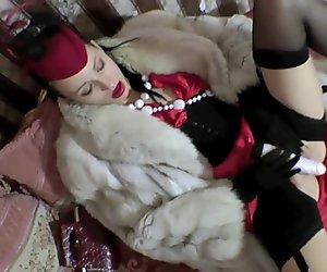 Stylish Classic Lesbian Ladies Long Fox Fur Satin Dress