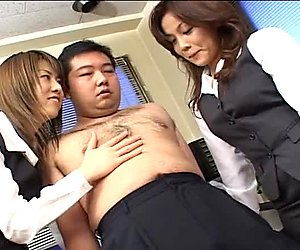 Two hot Japanese chicks make love to his dick with their mouths