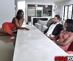 Sexy ebony MILF Ana Foxxx met her dauther Evi Reis boyfriend Quinton James