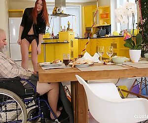 Handicapped granddad gets deep-throated by teen ginger-haired step niece