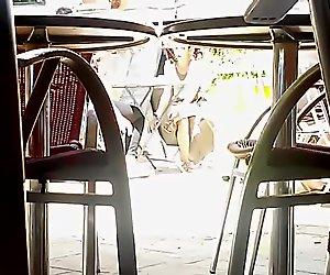 Nice upskirt at the cafe
