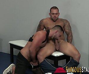 Hairy stallion sucks cock