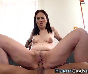 Horny granny facialized
