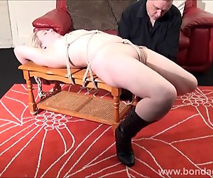 Sexy damsel in distress Amber West in bondage and submissive