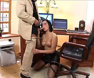 Sextractive  secretary Renata Black enjoys new employee