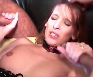 Doll gets three dicks in holes