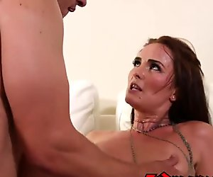 Perfectly trimmed pussy is aching for a load