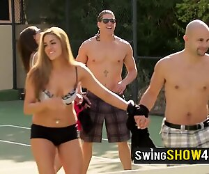Swinger cowboy has to play a naughty game tied to a very hot swinger wife from the house.