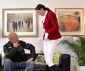Classy equestian rides and sucks cock