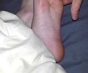 rubbing cock on young gf soles