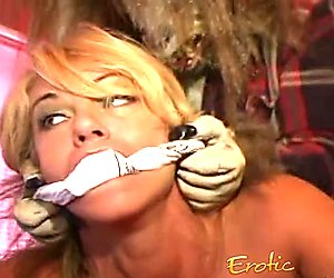 Blonde bimbo with big naturals has her tight pussy hammered