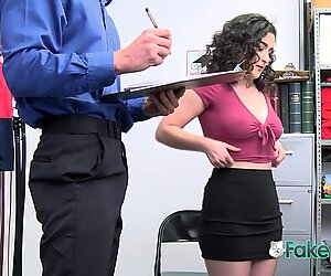 Curly shoplifter babe gets her hairy pussy banged hard