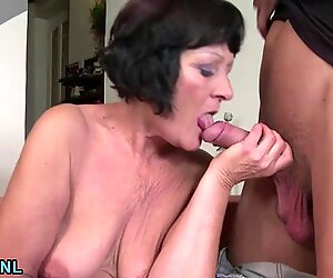 Shaved mature rides a young stud