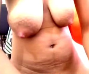 Filipina with Large Scoops Plays with Vagina