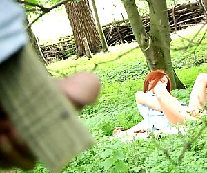 Horny old perv fucks hot redhead slut in the forest