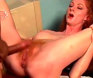 horny redhead secretary sex with her boss to keep her job