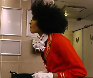 Sky High - Ebony flight attendant Luna Corazon gets fucked in the bathroom