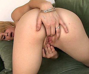 Sexy Ally Ann stuffs her sweet pink pussy with her hand and enjoys it