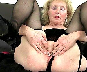 British gran with big tits is a compulsive masturbator