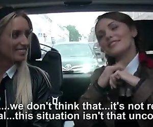 2 skanky schoolgirls fucking in the car