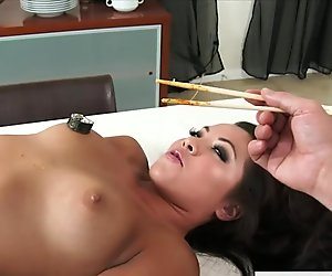 Beauty asian Morgan Lee serve sushi on her naked body