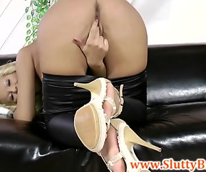 Young brit babe in heels masturbating
