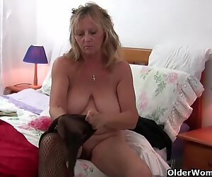 grandma with fat breasts rips open her stockings