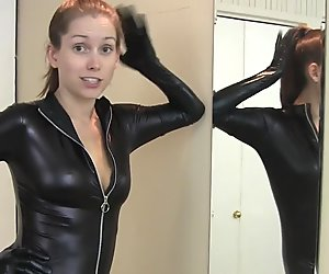 Lelu Love-Catsuit Mirror Kissing Masturbation Instruction