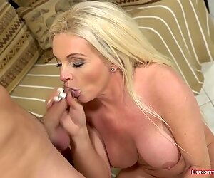 Blonde granny with awesome tits enjoying sex