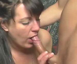 Dark haired kinky moms with saggy boobies blow one fresh hard cock