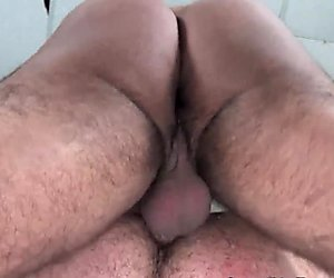 Cockriding pierced bear jerksoff creamy load
